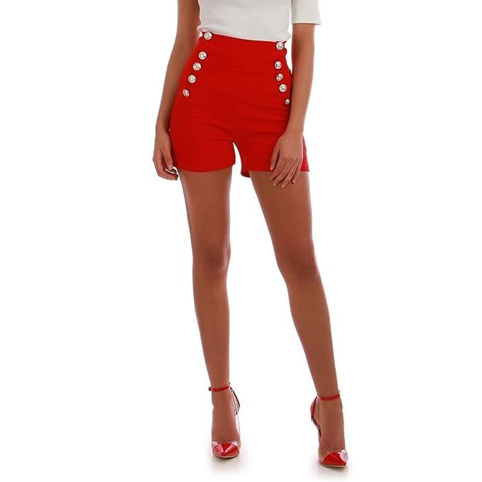 La Modeuse - Pantalón corto - para mujer rojo Small   Amazon.es  Ropa y  accesorios 7afec72d6c8b