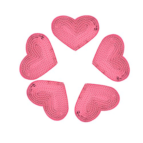 (Yalulu 10Pcs Iron On Patches Badges Pink Heart Appliques Sequin Patches for Clothing Trousers Bags Stickers Sewing Accessories)
