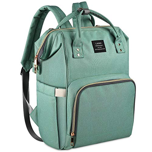 Land Diaper Bag for Mom Dad, Roomy Baby Diaper Backpack Organizer Large Capacity Compact Baby Bag Back Pack Water-Resistant Toddler Nappy Bag Bookbag for Boys & Girls (Green)