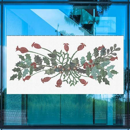 Holiday Decor Festive Print Perforated Window Decal 96x48 5-Pack CGSignLab