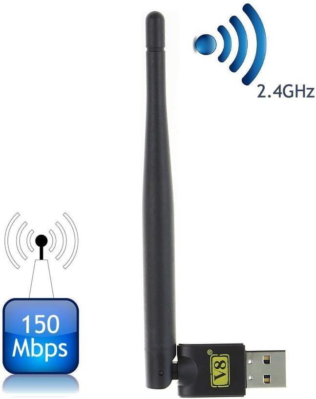 Freesat V8 USB WiFi adaptador de antena inalámbrica para Freesat V7 V8 receptores de satélite digital de la serie y otros FTA Set Top Box, ordenador ...