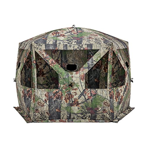 Barronett Pentagon Ground Hunting Blind, 4 Person Pop Up Portable, Backwoods Camo (Best Tree Stand For Rifle Hunting)