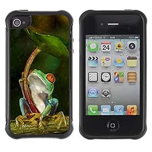 Híbridos estuche rígido plástico de protección con soporte para el Apple iPhone 4 / 4S - umbrella green forest tropical