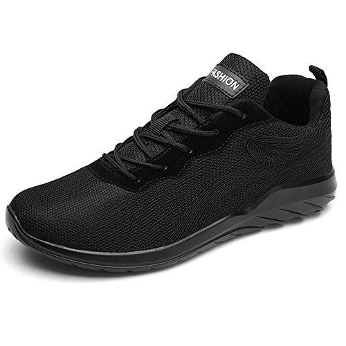 Führershow Herren High Top atmungsaktive Wanderschuhe, Mode Sport atheitic Sneaker Alles schwarz