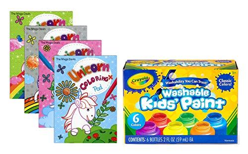 Crayola Washable Kids Paint, Classic Colors, 6 Count | 4 Unicorn Paint Pads