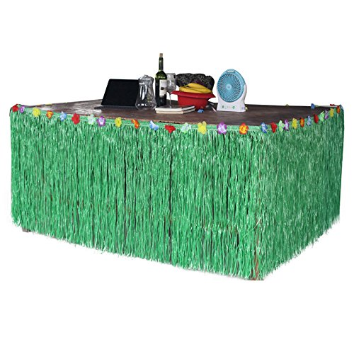 Sc0nni Hawaiian Luau Hibiscus Green & Colorful Silk Faux Flowers Table Hula Grass Skirt for Party Decoration, Events, Birthdays, Celebration, 9' x -