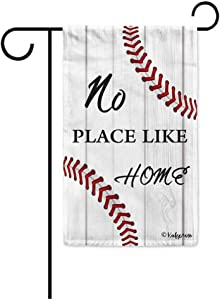 "KafePross No Place Like Home Baseball Decorative Garden Flag Seasonal Small Banner Polyester for Outside 12.5""X18"" Print Both Size"