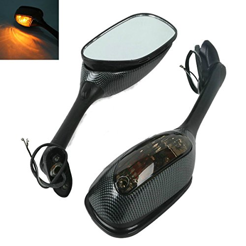 XFMT Carbon Fiber Side Rear View Mirrors Signal For Suzuki GSXR1000 GSX-R 1000 (Gsxr1000 Carbon Fiber)