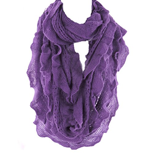 Infinity Scarf for Women by Silver Fever | Fashionable Elegant & Soft Woven | Infinity Loop Figure Eight Endless Scarf Wrap, Purple, One Size (Purple Ruffle)
