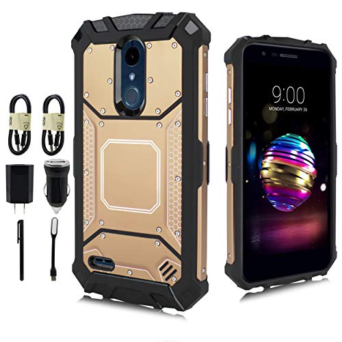 LG K30 Case (X410), LG K10 2018 Case, LG Phoenix Plus Case, LG Premier Pro Case, LG Harmony 2 Case, Feather Light Aluminum Metal Rugged Cover, Composite Case [Value Bundle] (Gold)