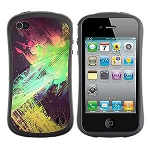Suave TPU GEL Carcasa Funda Silicona Blando Estuche Caso de protección (para) Apple Iphone 4 / 4S / CECELL Phone case / / Green Pink Yellow Black Spots /