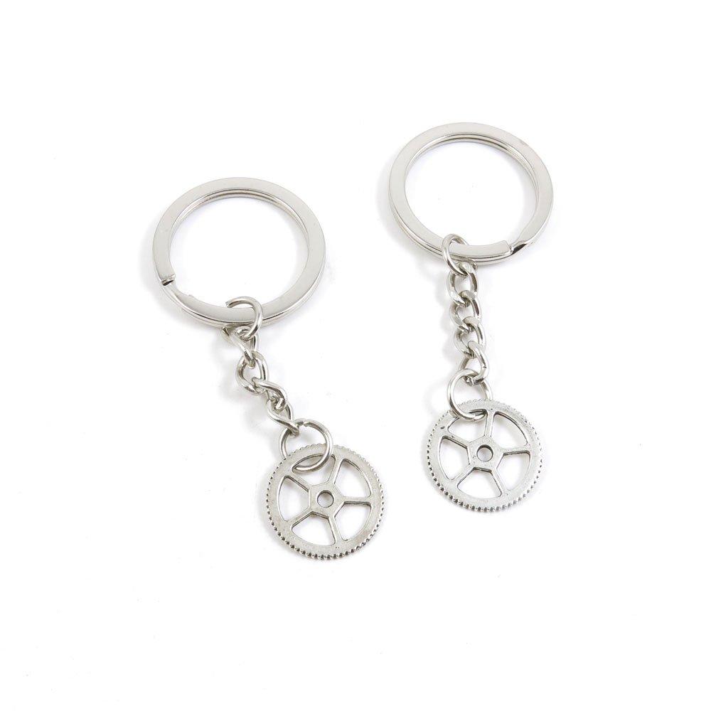 100 Pieces Keychain Door Car Key Chain Tags Keyring Ring Chain Keychain Supplies Antique Silver Tone Wholesale Bulk Lots M8ZL6 Gear Gearwheel