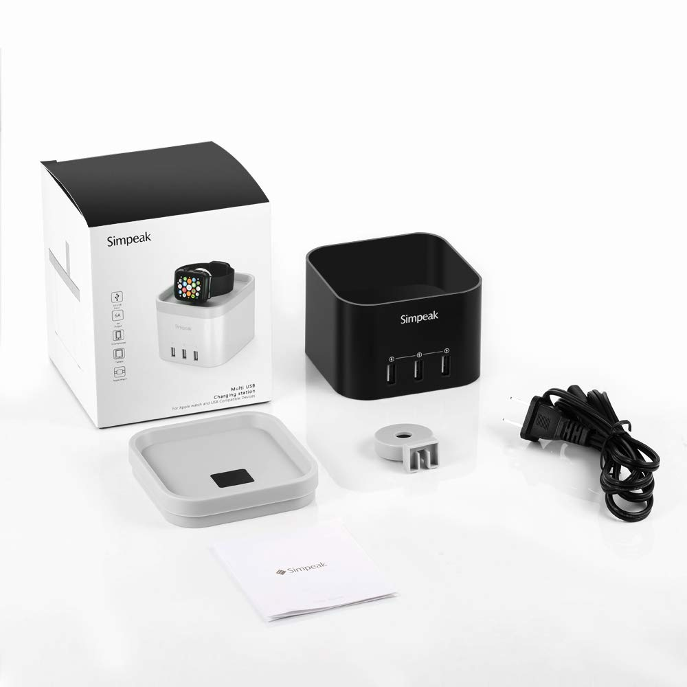 Nightstand Mode -with Phone Holder Charger Stand for iPhone 5//6//7//8//XS Max and Other Smartphone Simpeak 4 Port USB Charger Stand Dock for iWatch 1//2//3//4 Black