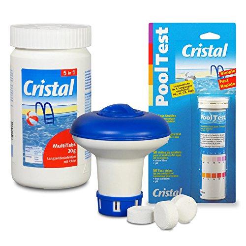 SET MultiTabs Chlor 5 in 1 (20 g), Chlordosierer + Teststreifen Cristal