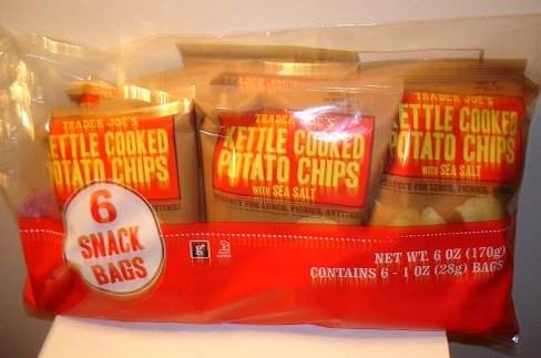 - Trader Joe's 6-pack of Kettle Cooked Potato Chips with Sea Salt
