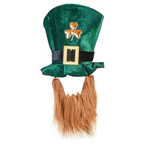[St. Patrick Day Costume Leprechaun Top Hat and Beard Accessory Funny Party Hats] (Elf Costume Made Out Of Felt)