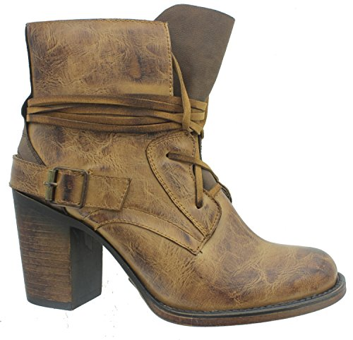 Pierre Dumas Ravenna-1 Women's Vintage Distressed Lace-Up Stacked Heel Ankle Boot