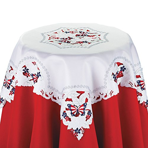 Embroidered Patriotic Americana Linens Square