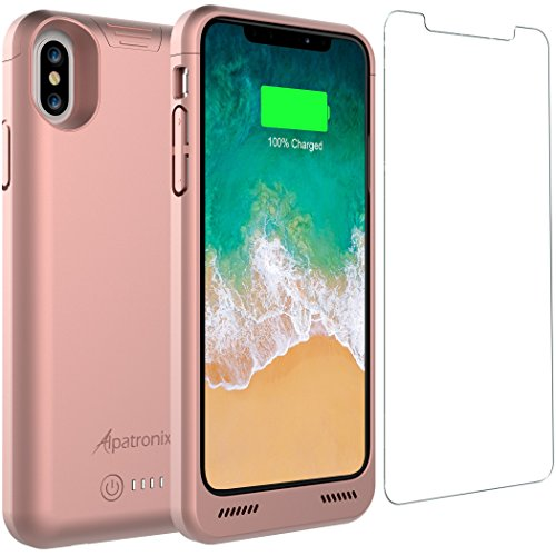 iPhone X Battery Case Qi Wireless Charging Compatible, Alpatronix BXX 5.8-inch 4200mAh Rechargeable Extended Protective Portable Charger Case for iPhone X [Apple Certified Chip; iOS 11+] – Rose Gold (20 Gold Certified Usb Cable)