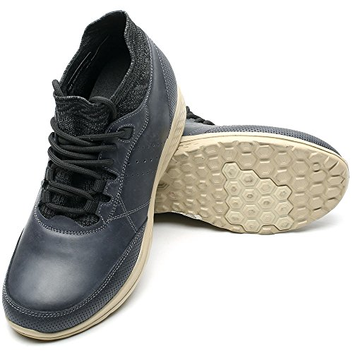 Leather CHAMARIPA Shoes Blue Insoles Lace Casual 76 2 AH81C83K021D Increasing Height Mens up inches ZZnx5Uq