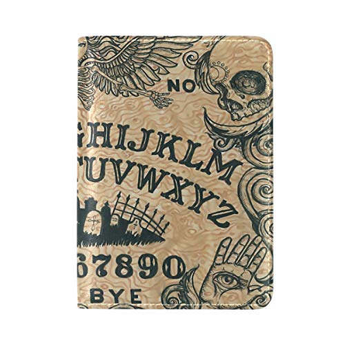 Ouija Board Art PU Leather Passport Holder Cover Case ID Card Case Travel Wallet