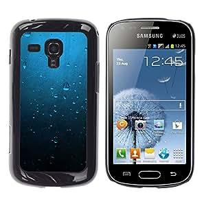 TaiTech / Prima Delgada SLIM Casa Carcasa Funda Case Bandera Cover Armor Shell PC / Aliminium - Gotas de agua azul - Samsung Galaxy S Duos S7562