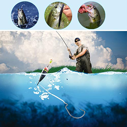 FISHFUNN Premium Fishing Hooks, 50PCS Special Barb Fishhooks with High Carbon Steel, 10Pcs Fishing Lures Bait Worm with Plastic Box, for Freshwater/Seawater (5 Sizes:# 2, 1,1/0, 2/0, 3/0)