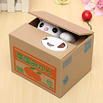[Free Shipping] Lovely Creative Piggy Bank Kitty Cat Steal Money Coin Box // Gato precioso gatito alcancía creativa robar caja de monedas de dinero