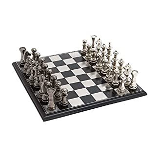 Deco 79 Metal Wood Chess Set, 17 by 6-Inch, Mahogany Brown and Matte Silver
