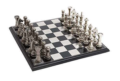 Deco 79 Metal Wood Chess Set, 17 by 6-Inch, Mahogany Brown and Matte - Steel Chess Stainless Set