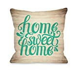 One Bella Casa 74834PL16 ''Home Sweet Home Wood'' Pillow by OBC, 16'' x 16'', Green