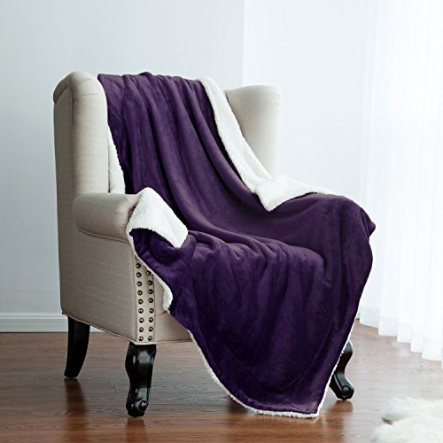 Find Cheap Sherpa Throw Blanket Purple 50x60 Reversible Fuzzy Microfiber All Season Blanket for Bed ...