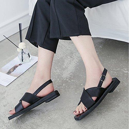 mujer primavera plana Office Black Carrera PU peep verano negro toe para beige ZHZNVX de sandalias bailarina de Zapatos exterior tacón EwqIvB