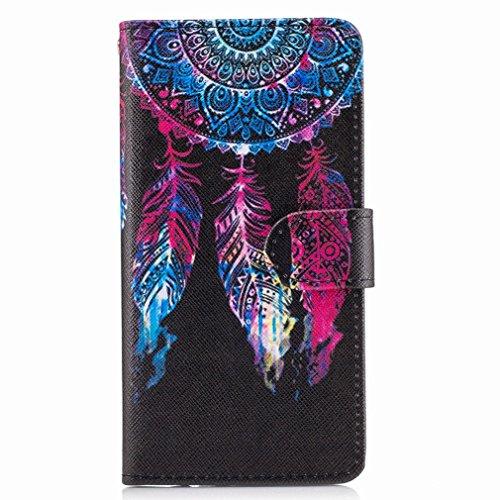 Yiizy Samsung Galaxy A5 (2017) Custodia Cover, La Piuma Rossa Design Sottile Flip Portafoglio PU Pelle Cuoio Copertura Shell Case Slot Schede Cavalletto Stile Libro Bumper Protettivo Borsa