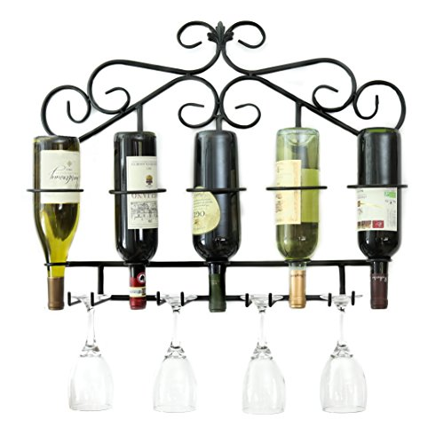 ProCore Products Metal Wine Rack Wall Mounted Holds 5 Bottle With Wine Glass Holders