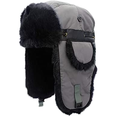 62c5ab67f4bbf Mens Waterproof Trapper Hat - Ushanka Trooper Hat Faux Fur Hunting Hat  Outdoor Earflaps Russian Aviator Winter Cap Unisex  Amazon.co.uk  Clothing