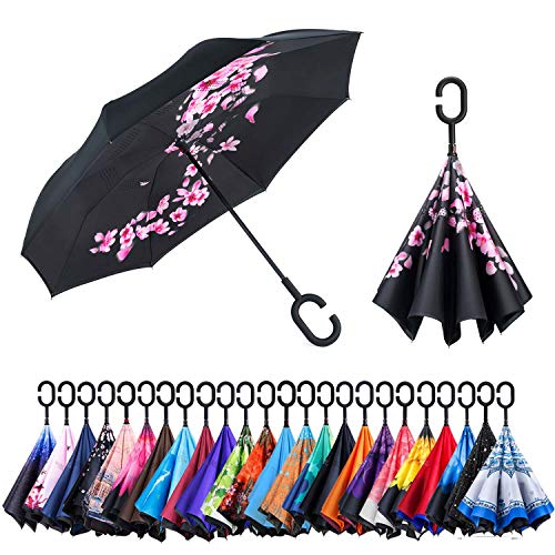 Newsight Reverse/Inverted Double-Layer Waterproof Straight Umbrella, Self-Standing & C-Shape Handle & Carrying Bag for Free Hands, Inside-Out Folding for Car Use (Falling Hibiscus)