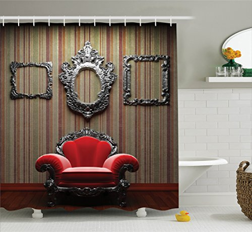 Ambesonne Antique Decor Collection, Wall and Chair Vintage Picture Frame Vertical Striped Background Timber Floor Image, Polyester Fabric Bathroom Shower Curtain Set, 75 Inches Long, Red Silver Grey ()