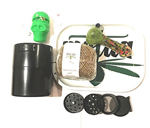 MOTAA starter kit, 4 part spice grinder pollen catcher with airtight container, 200ft hemp wick, silicon skull with daisy screens + MOTAA Rolling Ash Tray (blackblue)