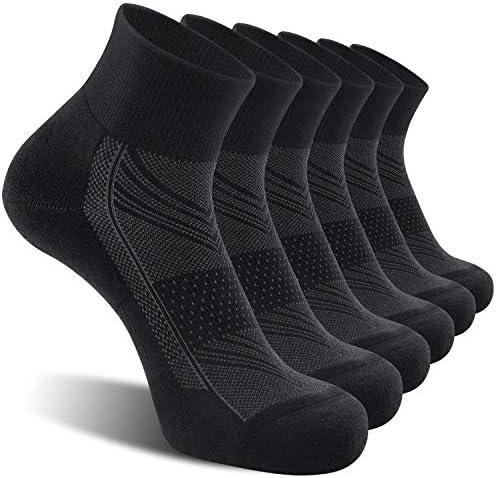 CelerSport 6 Pack Men's Ankle Socks with Cushion, Sport Athletic Running Socks