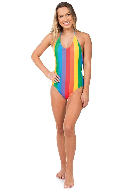 d469fbe8324f9 Women's Rainbow One Piece Swim Suit - Pride Multicolored Swimsuit Bathing  Suit at Amazon Women's Clothing store: