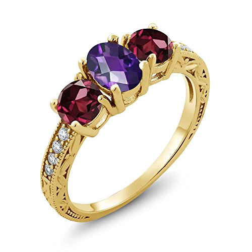 Gem Stone King 2.07 Ct Oval Checkerboard Purple Amethyst Red Rhodolite Garnet 18K Yellow Gold Plated Silver Ring (Size 7)
