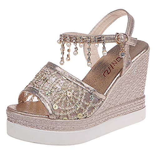 TOOPOOT Sandals for Women, Summer Shoes Wedges Crystal Buckle Peep Toe Causal Shoes Sandals Gold