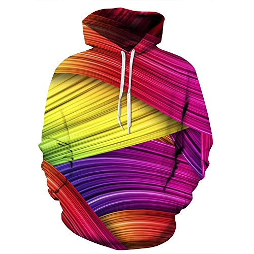 Ladies Activewear 3D Rainbow Colorful Print Pullover Casual Hoodies for Women from BoyNewYork