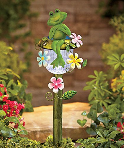 Solar Powered Frog Stake Whimsical Garden Yard Lawn Flowerbed Decoration