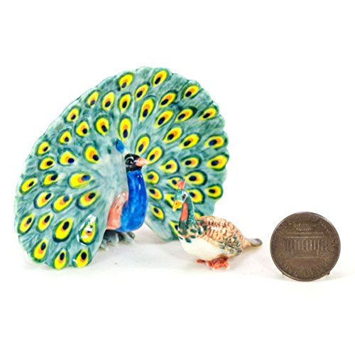2 PEACOCK BIRD FLOW SET Miniature Animal Statue Pottery Figurine Ceramic Flow Blue Pottery