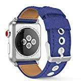 MoKo Band for Apple Watch Series 3 Bands, Comfortable Denim Fabric Adjustable Replacement Wristband Strap for iWatch 42mm 2017 series 3 / 2 / 1, Blue (Not fit 38mm Versions)