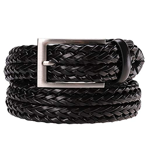 Earnda Men's Braided Belt Leather Woven Genuine Leather Belt For Men With Pin Buckle Black 33mm 32-38