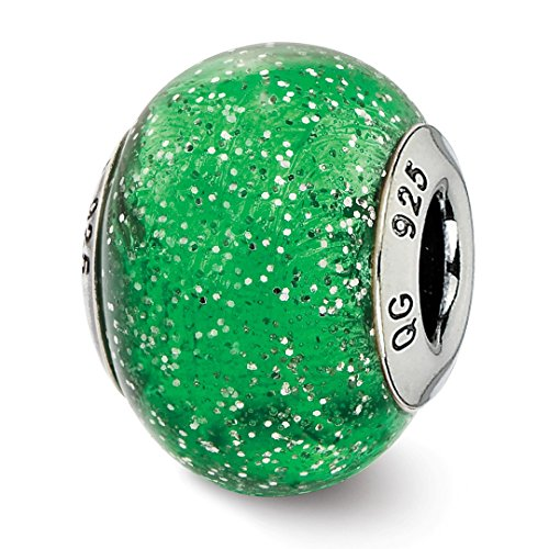 ICE CARATS 925 Sterling Silver Charm For Bracelet Italian Green Glitter Glass Bead Glas Murano Fine Jewelry Ideal Mothers Day Gifts For Mom Women Gift Set From Heart Green Christmas Italian Charm