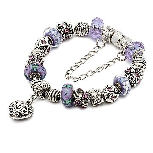RUBYCA Silver Tone European Charm Bracelet 7.9